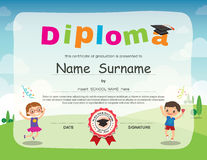 Preschool kids diploma certificate background design. Template stock illustration