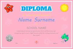 Preschool Kids Diploma certificate background Stock Image