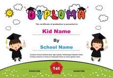 Preschool Kids Diploma certificate colorful background design template vector Illustration. For Education graduation concept stock illustration