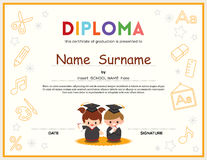 Preschool Kids Diploma certificate design template Stock Photography