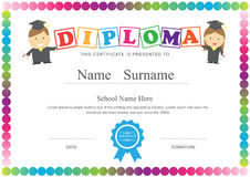 Preschool kids diploma certificate design template background Royalty Free Stock Photos