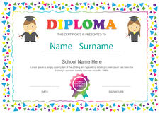 Preschool kids diploma certificate elementary school design temp Royalty Free Stock Photo