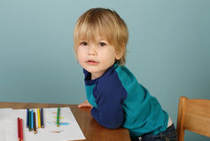 Preschool Kids Education. Concept of preschool, kids education, learning and art, child drawing in class stock image