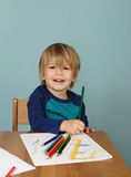 Preschool Kids Education. Concept of preschool, kids education, learning and art, child drawing in class stock photo