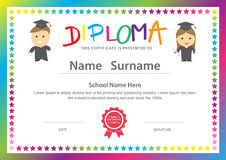 Preschool kids elementary school diploma certificate design back. Ground template royalty free illustration