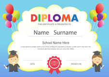 Preschool kids elementary school diploma certificate design temp stock illustration