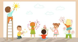 Preschool kids painting with brushes and paints on white wall vector Illustration. In flat stylle Royalty Free Stock Images