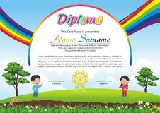 Lovely Kid Diploma - Certificate. Preschool / kindergarten Lovely Kid Diploma - Certificate template design with cute and beautiful landscape with rainbow design Stock Photography