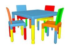 Preschool krzesła i stół ilustracja wektor