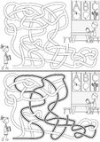 Preschool maze. For kids with a solution in black and white Stock Image