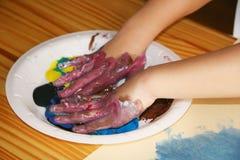 Preschool Painting Activity. Children's Preschool Painting Activity royalty free stock images