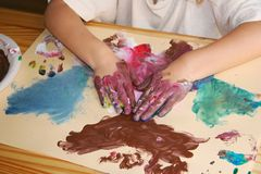 Preschool Painting Activity Stock Photo