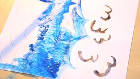 Preschool painting. Detail brush with blue paint stock video