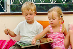 Preschool reading lesson royalty free stock photo