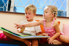 Preschool reading lesson Stock Photos