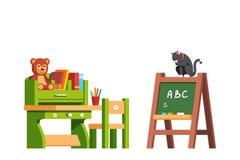 Preschool sala lekcyjnej wnętrze z książkami i zabawkami Obraz Royalty Free