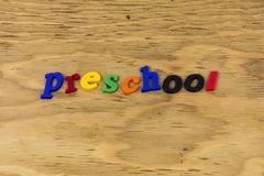 Preschool school students teach learn plastic. Type children child abc alphabet color learning education letterpress sign typography back royalty free stock photography
