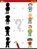 Preschool shadow activity for kids. Cartoon Illustration of Find the Shadow Educational Activity Game for Preschool Children with Kid Boys Royalty Free Stock Photos
