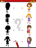 Preschool shadow game with kids. Cartoon Illustration of Find the Shadow Educational Activity Task for Preschool Children with Kid Girls Stock Photo