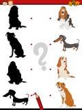 Preschool shadow task with dogs vector illustration