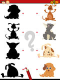 Preschool shadow task with dogs Stock Images