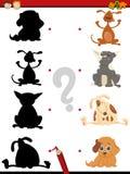 Preschool shadow task with dogs royalty free illustration