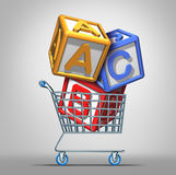 Preschool Shopping. And early education concept with a a group of three dimensional school alphabet blocks in a shop cart as a symbol of finding the best royalty free illustration