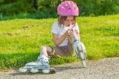 Preschool skateroll beginner Royalty Free Stock Image