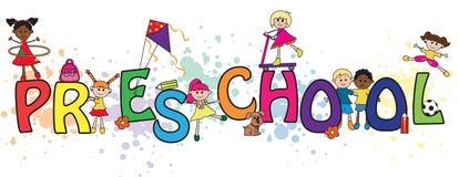 Preschool word illustration. Preschool word concept with children Stock Photos