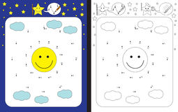 Preschool worksheet. For practicing fine motor skills and recognising numbers - connecting dots by numbers Stock Images