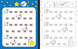 Preschool worksheet. For practicing fine motor skills - tracing dashed lines Stock Photo