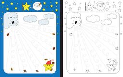 Preschool worksheet. For practicing fine motor skills - tracing dashed lines Stock Image