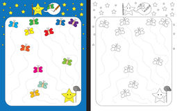 Preschool worksheet. For practicing fine motor skills - tracing dashed lines Stock Photos