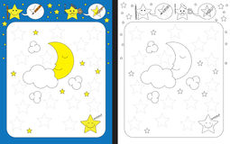 Preschool worksheet. For practicing fine motor skills - tracing dashed lines Royalty Free Stock Photo