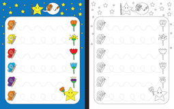 Preschool worksheet. For practicing fine motor skills - tracing dashed lines Royalty Free Stock Photography