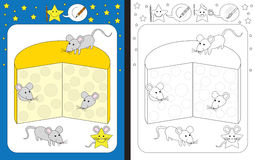Preschool worksheet. For practicing fine motor skills - tracing dashed lines Stock Images