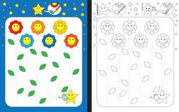 Preschool worksheet. For practicing fine motor skills - tracing dashed lines Stock Photography