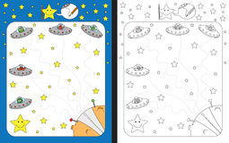 Preschool worksheet. For practicing fine motor skills - tracing dashed lines of alien space ships landing on a planet Stock Photography