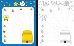 Preschool worksheet. For practicing fine motor skills - tracing dashed lines from bees to beehive Royalty Free Stock Photo