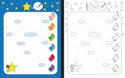 Preschool worksheet. For practicing fine motor skills - tracing dashed lines - birds flying in the sky Royalty Free Stock Photos