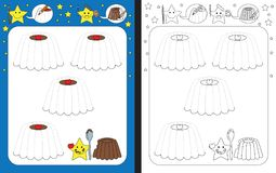 Preschool worksheet. For practicing fine motor skills - tracing dashed lines of chocolate puddings Royalty Free Stock Photography