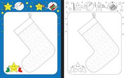 Preschool worksheet. For practicing fine motor skills - tracing dashed lines of decoration on Christmas stocking royalty free illustration