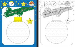 Preschool worksheet. For practicing fine motor skills - tracing dashed lines of decorations on Christmas ornament royalty free illustration