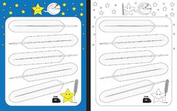 Preschool worksheet. For practicing fine motor skills - tracing dashed lines on feathers Stock Photo