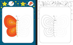 Preschool worksheet. For practicing fine motor skills - tracing dashed lines - finish the illustration Stock Photo