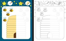 Preschool worksheet. For practicing fine motor skills - tracing dashed lines - finish the illustration of bees and beehive Stock Photo