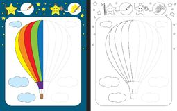 Preschool worksheet. For practicing fine motor skills - tracing dashed lines - finish the illustration of hot air balloon Royalty Free Stock Photo