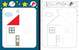 Preschool worksheet. For practicing fine motor skills - tracing dashed lines - finish the illustration of the house Royalty Free Stock Photography