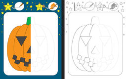 Preschool worksheet. For practicing fine motor skills - tracing dashed lines - finish the illustration of Jack O Lantern Royalty Free Stock Photo