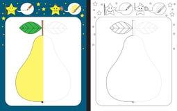 Preschool worksheet. For practicing fine motor skills - tracing dashed lines - finish the illustration of pear vector illustration